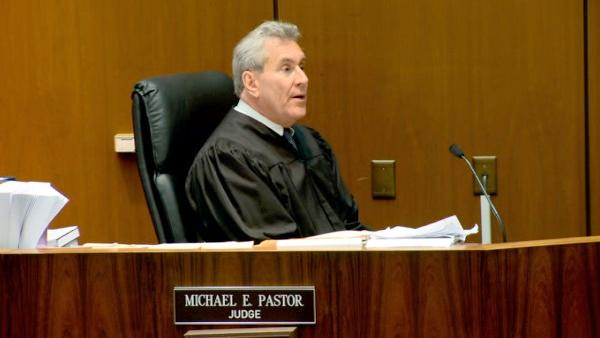 Superior Court Judge Michael Pastor addresses the jury before the verdict is read on Monday, Nov. 7, 2011.