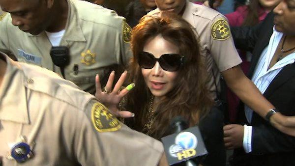 La Toya Jackson, sister of Michael Jackson, leaves the downtown Los Angeles courtroom where her brother's doctor, Conrad Murray, was convicted of involuntary manslaughter in the pop singer's death on Monday, Nov. 7, 2011.