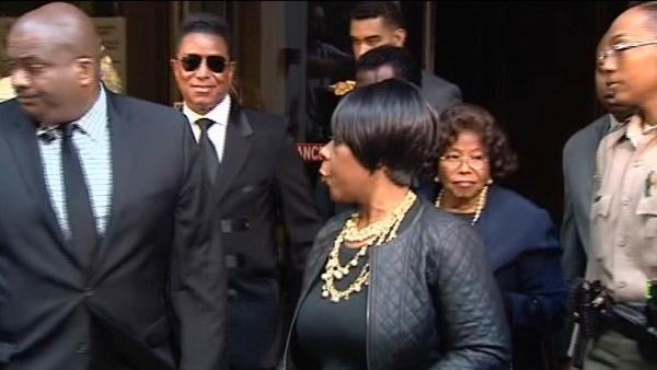 Michael Jackson's mother Katherine and brother Jermaine are seen exiting a Los Angeles courthouse after the sentencing of Conrad Murray on Tuesday, Nov. 29, 2011.
