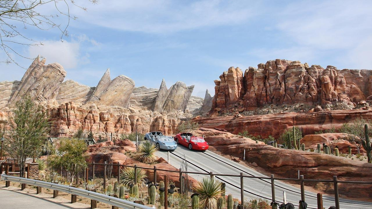 Radiator Springs Racers in Cars Land, shown here during testing, is a twisting turning, high-speed adventure through Ornament Valley and the town of Radiator Springs.Paul Hiffmeyer/Disneyland Resort