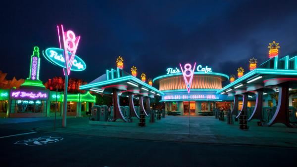 Cars Land features three immersive family attractions showcasing characters and settings from the Disney-Pixar film, 'Cars,' including one of the largest and most elaborate themed environments ever created