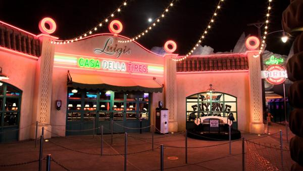 Cars Land features three immersive family attractions showcasing characters and settings from the Disney-Pixar film, 'Cars,' including one of the largest and most elaborate themed environments ever created for a Disney park.