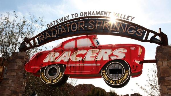 Disney California Adventure park guests will pass under a themed archway to enter Radiator Springs Racers in Cars Land at the Disneyland Resort.