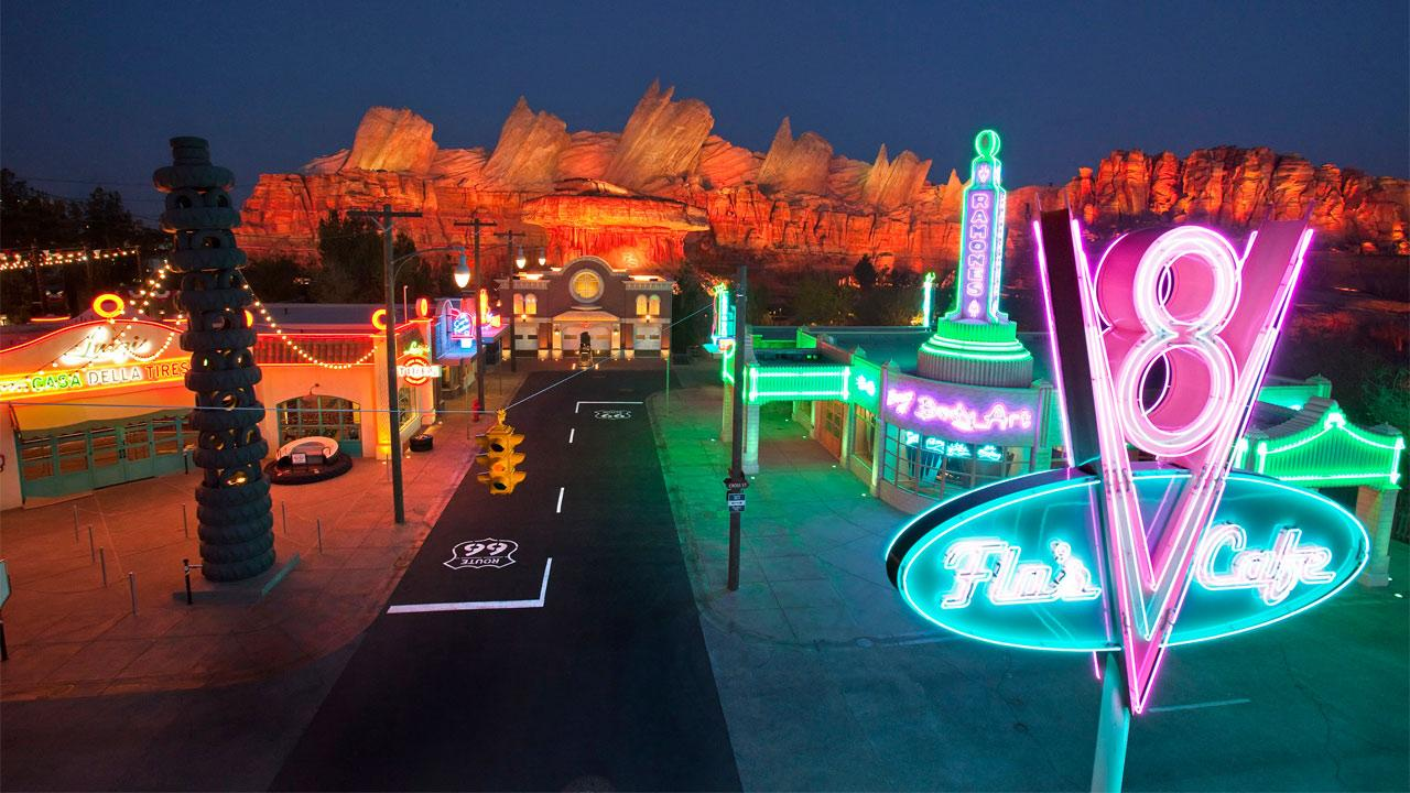 Cars Land features three immersive family attractions showcasing characters and settings from the Disney-Pixar film, Cars, including one of the largest and most elaborate themed environments ever created for a Disney park.Paul Hiffmeyer/Disneyland Resort