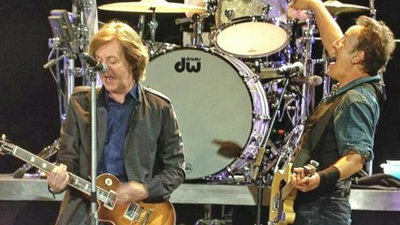Bruce Springsteen and Paul McCartney perform together at Londons Hyde Park.