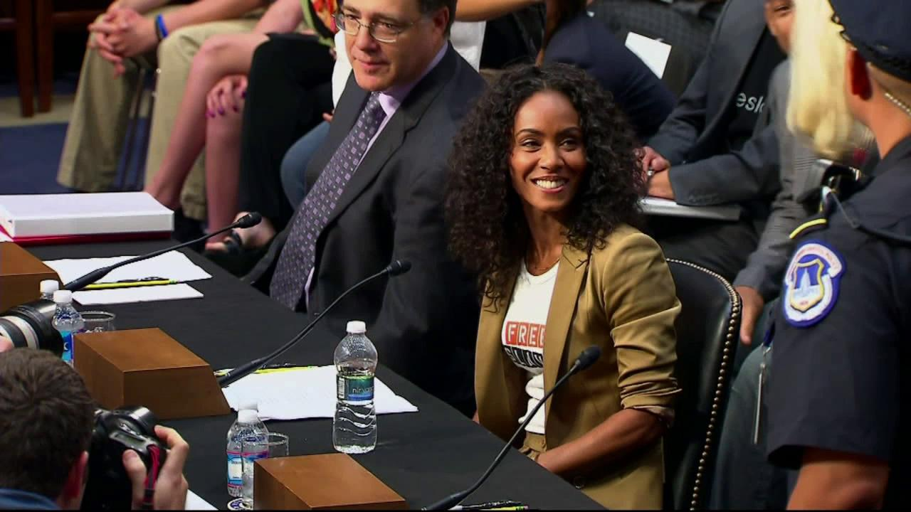 Jada Pinkett Smith testifies before the Senate Foreign Relations Committee during a hearing on The Next Ten Years in the Fight Against Human Trafficking: Attacking the Problem with the Right Tools on Capitol Hill in Washington Tuesday, July 17, 2012.