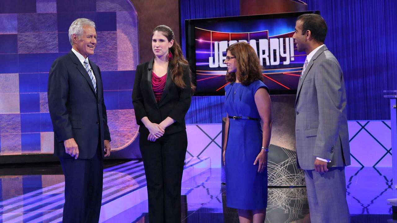 Jeopardy! host Alex Trebek is seen on the set for the first taping of the 29th season on Tuesday, July 25, 2012 at Sony Pictures Studio in Culver City.