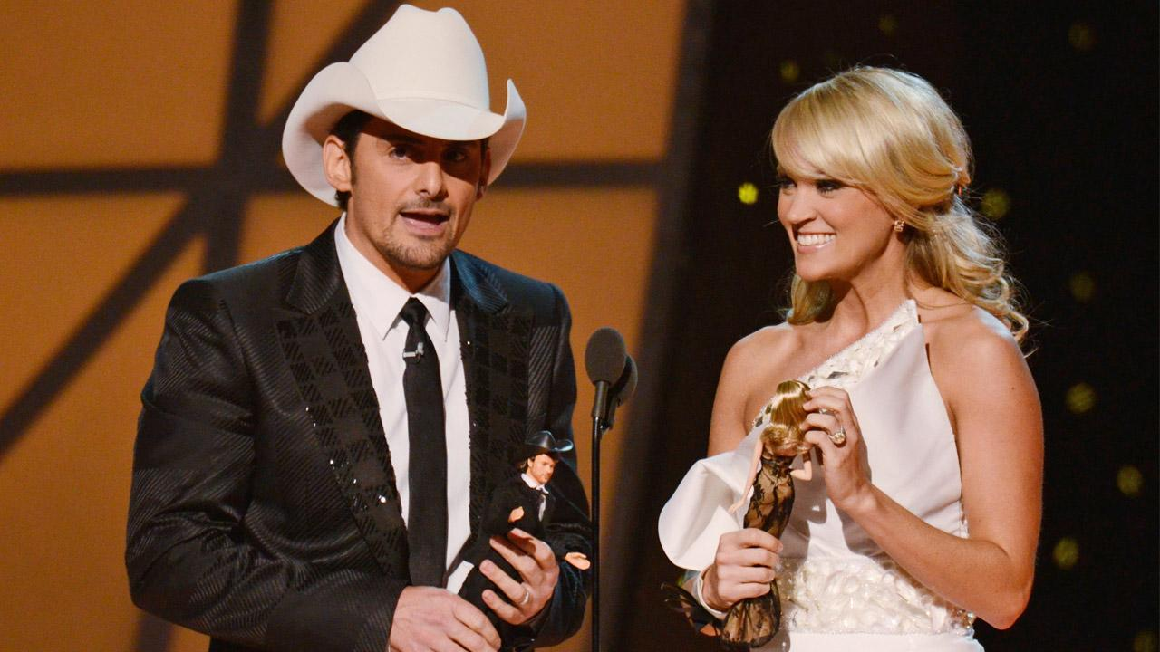 Brad Paisley and Carrie Underwood are seen hosting the 45th Annual CMA Awards on Wednesday, Nov. 9, 2011.