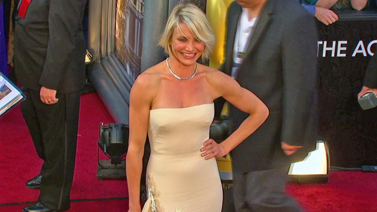 Cameron Diaz poses on the red carpet before the 2012 Oscars on Feb. 26, 2012.
