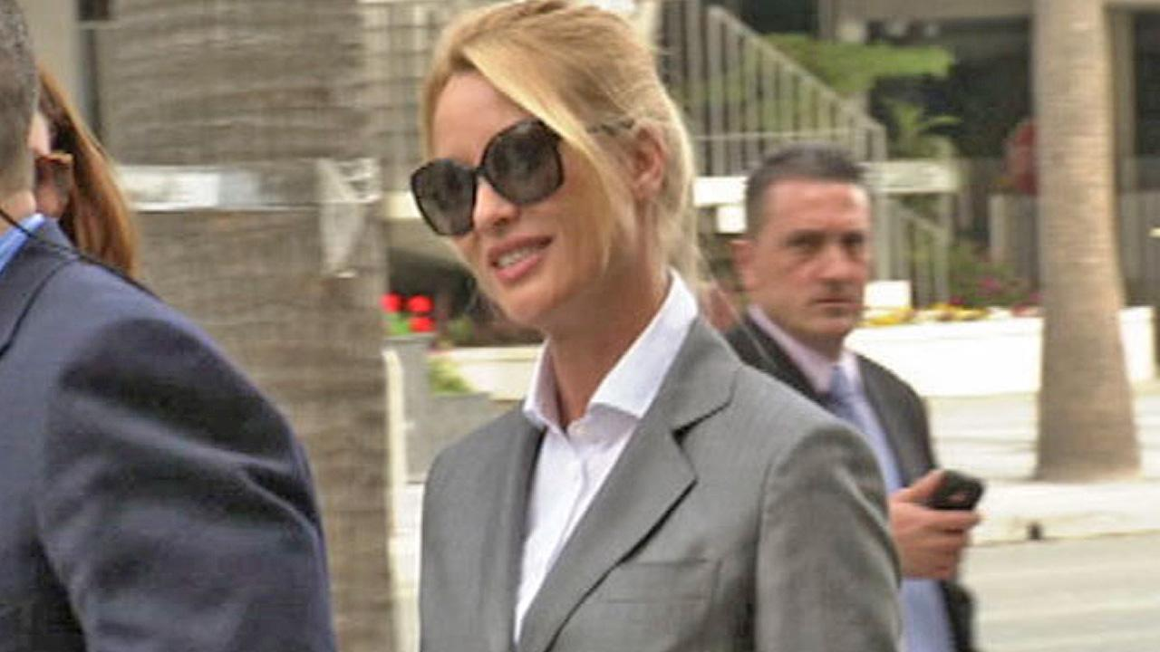 Nicollette Sheridan arrives at a Los Angeles court for her Desperate Housewives wrongful termination case on March 5, 2012.