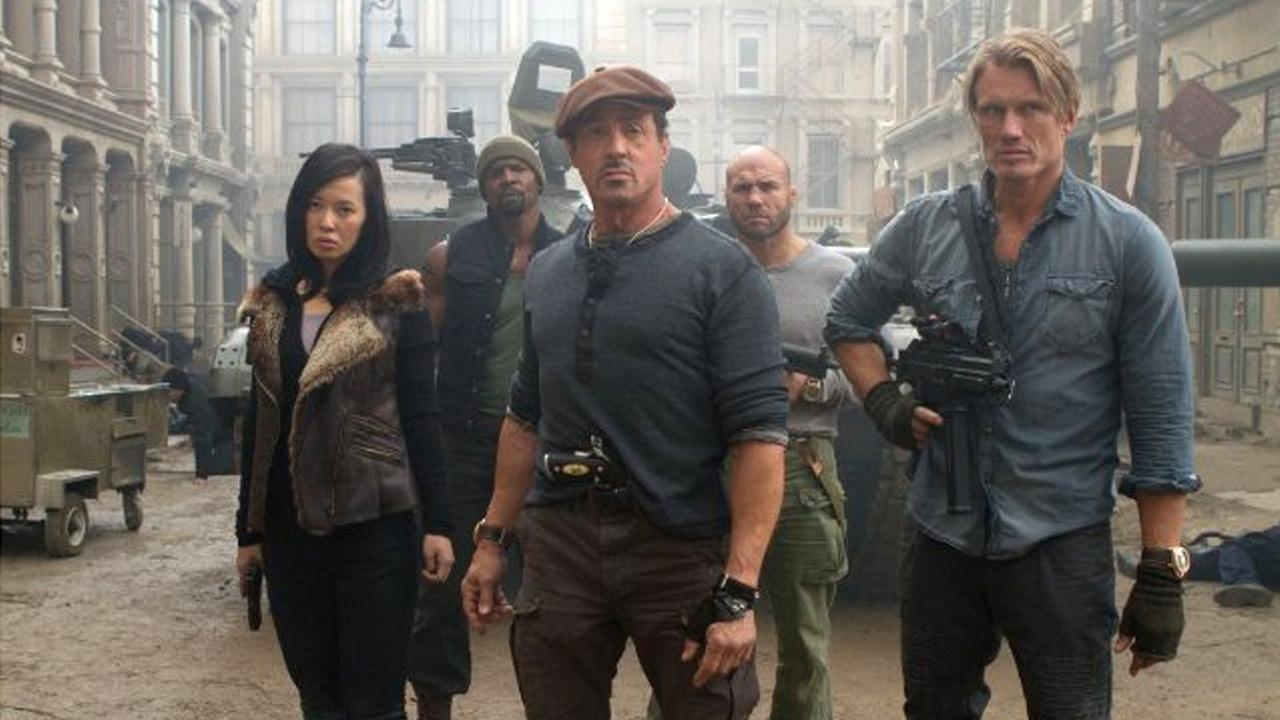 A still of Sylvester Stallone, Jason Statham, Terry Crews, Nan Yu and Randy Couture in the 2012 film The Expendables 2.