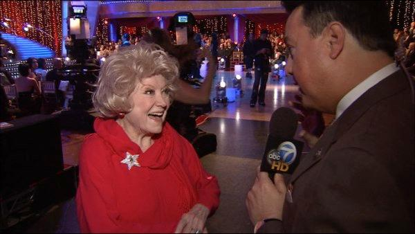 Phyllis Diller appears in this photo with ABC7 entertainment reporter George Pennachio in 2009. The comedian died at the age of 95, her family confirmed to ABC7 on Monday, August 20, 2012.