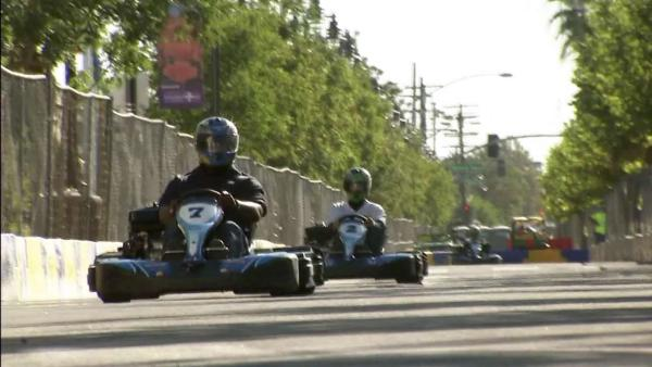 Go-cart racing at Lancaster Grand Prix
