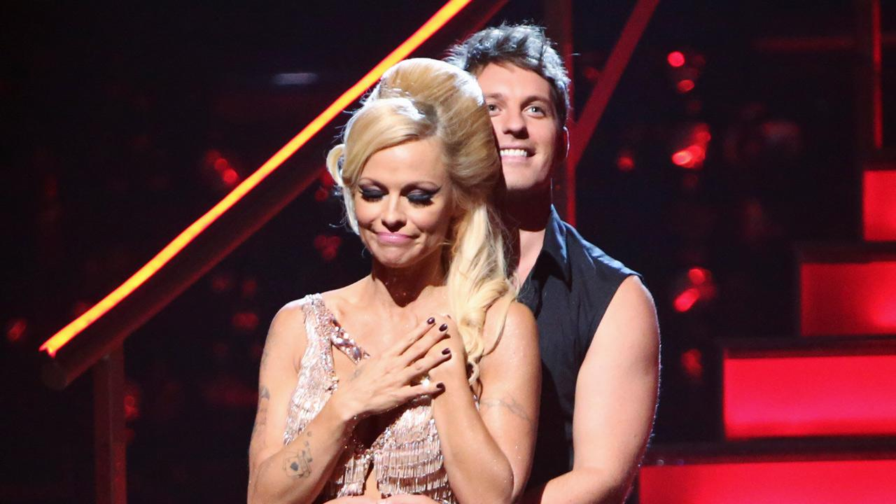 Pamela Anderson and her partner Tristan MacManus await their fate on Dancing With The Stars: The Results Show on Tuesday, September 25, 2012.