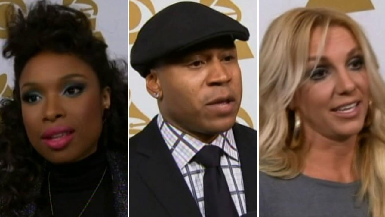 Jennifer Hudson, LL Cool J and Britney Spears speak before the We Will Always Love You: A Grammy Salute to Whitney Houston tribute on Thursday, Oct. 11, 2012.
