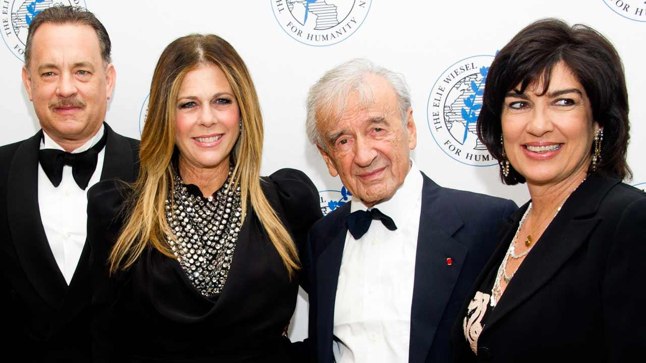 Honoree Tom Hanks, left, Rita Wilson, Elie Wiesel and Christiane Amanpour attend The Elie Wiesel Foundation For Humanitys Arts for Humanity Gala on Wednesday, Oct. 17, 2012 in New York.