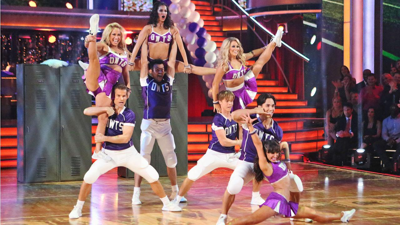 Four couples perform their Freestyle Team Dance in the ballroom on Dancing With The Stars: All-Stars on Monday, Oct. 23, 2012.