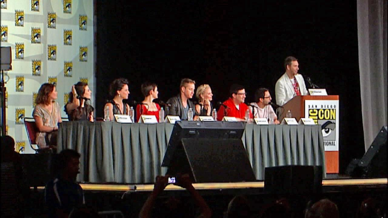 A panel of celebrities is seen at Comic-Con 2012.