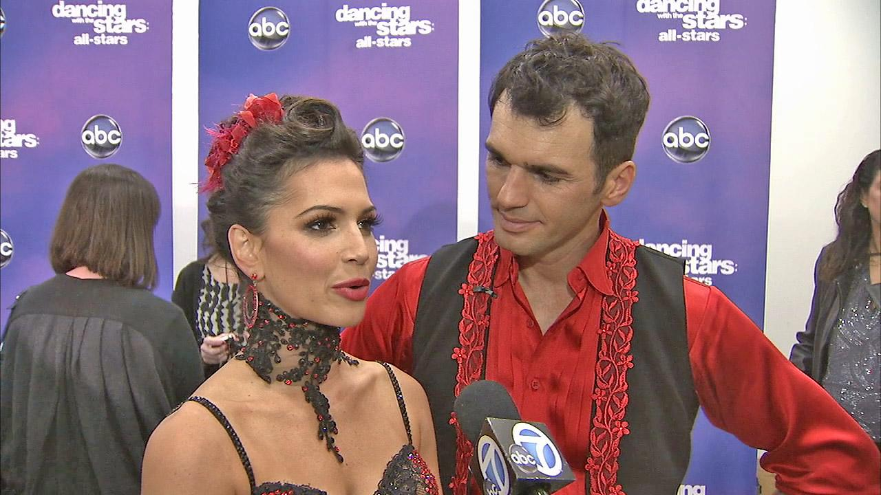 Dancing With The Stars competitors Melissa Rycroft and partner Tony Dovolani are seen after scoring perfect 30s on Monday, Nov. 12, 2012.