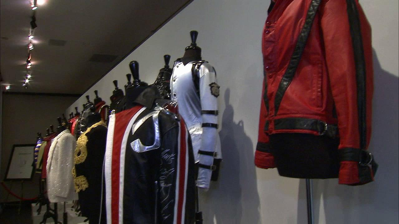 Michael Jacksons costumes are displayed at an auction in Beverly Hills on Sunday, Dec. 2, 2012.