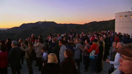 A crowd gathered at the Griffith Observatory on Tuesday, Jan. 15, 2013, for a sunset memorial to remember TV host Huell Howser.