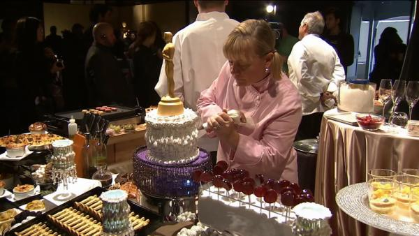 Executive pastry chef Sherry Yard is seen working on some desserts that will be on the menu for the annual Governors Ball, which takes place after The Oscars ceremony.