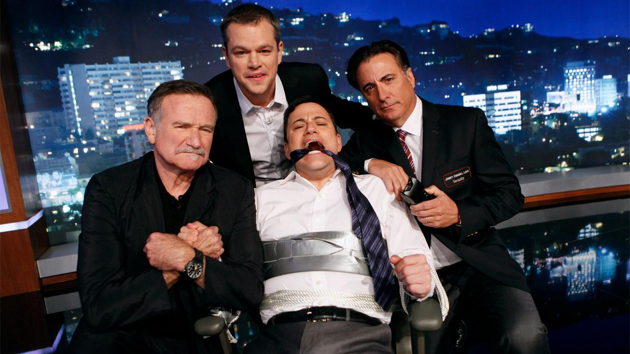 Matt Damon, Robin Williams, Andy Garcia pose with Jimmy Kimmel on Jimmy Kimmel Live! which aired Thursday, Jan. 25, 2013.