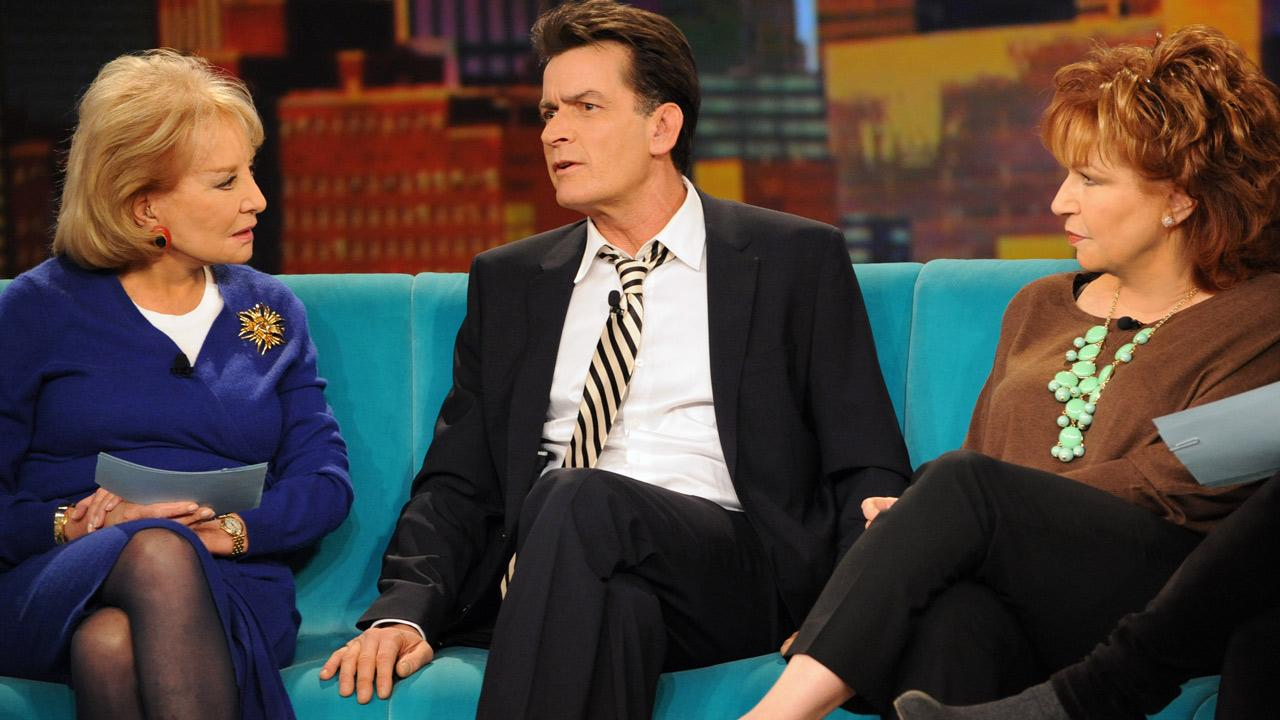 Barbara Walters and Joy Behar talk to Charlie Sheen on The View on Jan. 17, 2013.