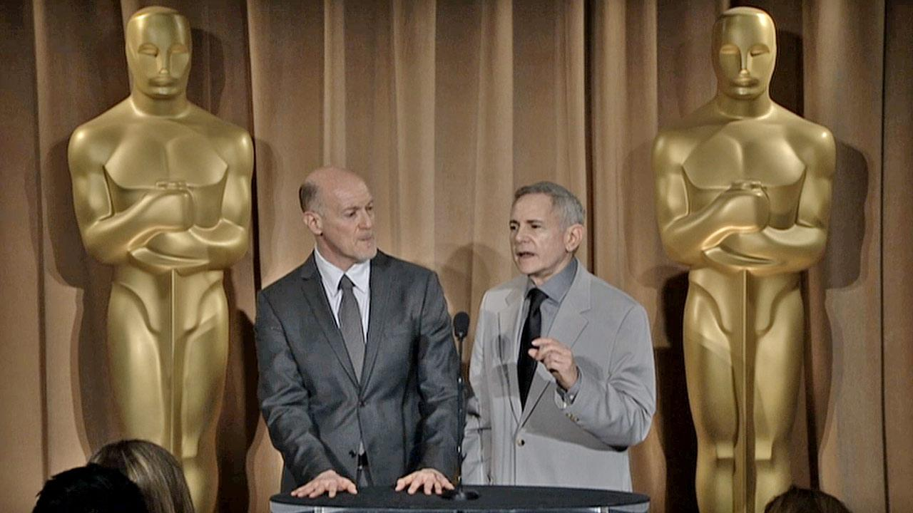 Oscar producers Neil Meron (left) and Craig Zadan during a press interview in early 2013.