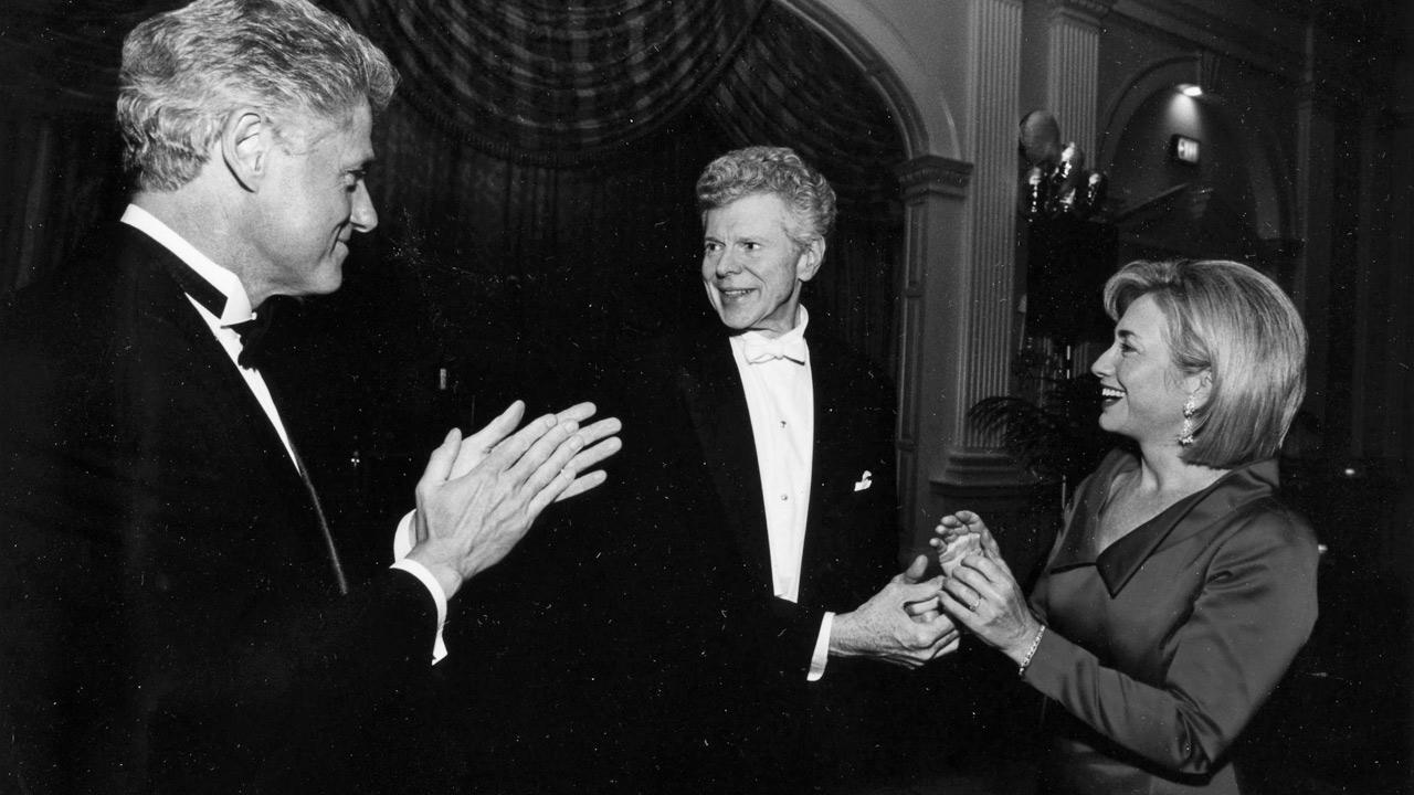 Van Cliburn is seen with former President Bill Clinton and former Secretary of State Hillary  Rodham Clinton.The Cliburn Foundation