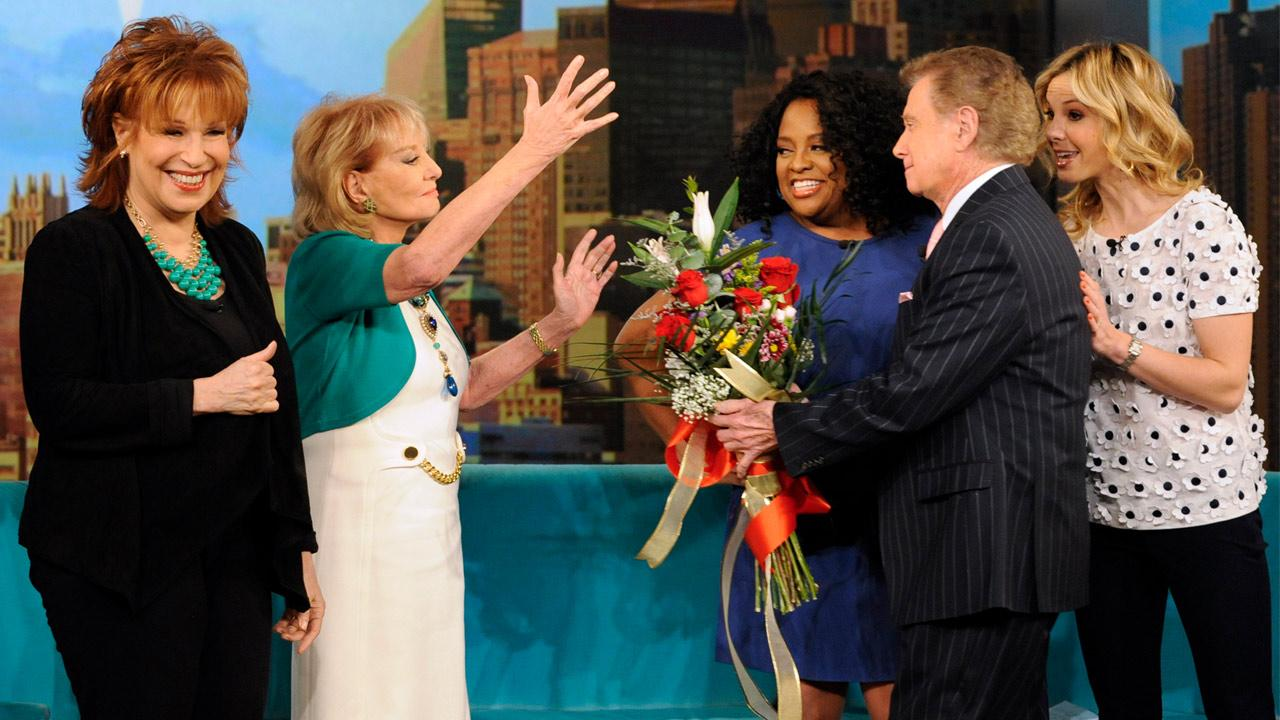 Regis Philbin welcomes back Barbara Walters on The View on Monday, March 4, 2013.