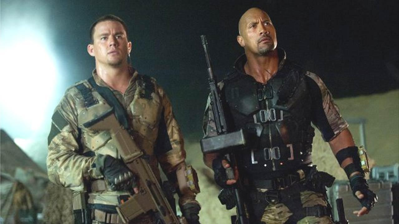 Channing Tatum (left) and Dwayne Johnson in a scene from the 2013 film G.I. Joe: Retaliation.