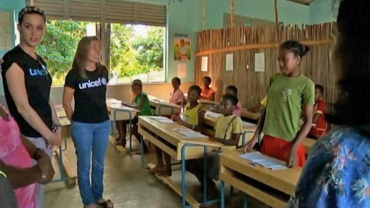 Katy Perry is seen visiting a classroom of school children during a trip to Madagascar in support of UNICEF in this photo from Monday, April 8, 2013.