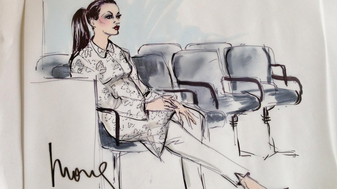 A sketch shows reality TV star Kim Kardashian in court for a divorce hearing on Friday, April 12, 2013.