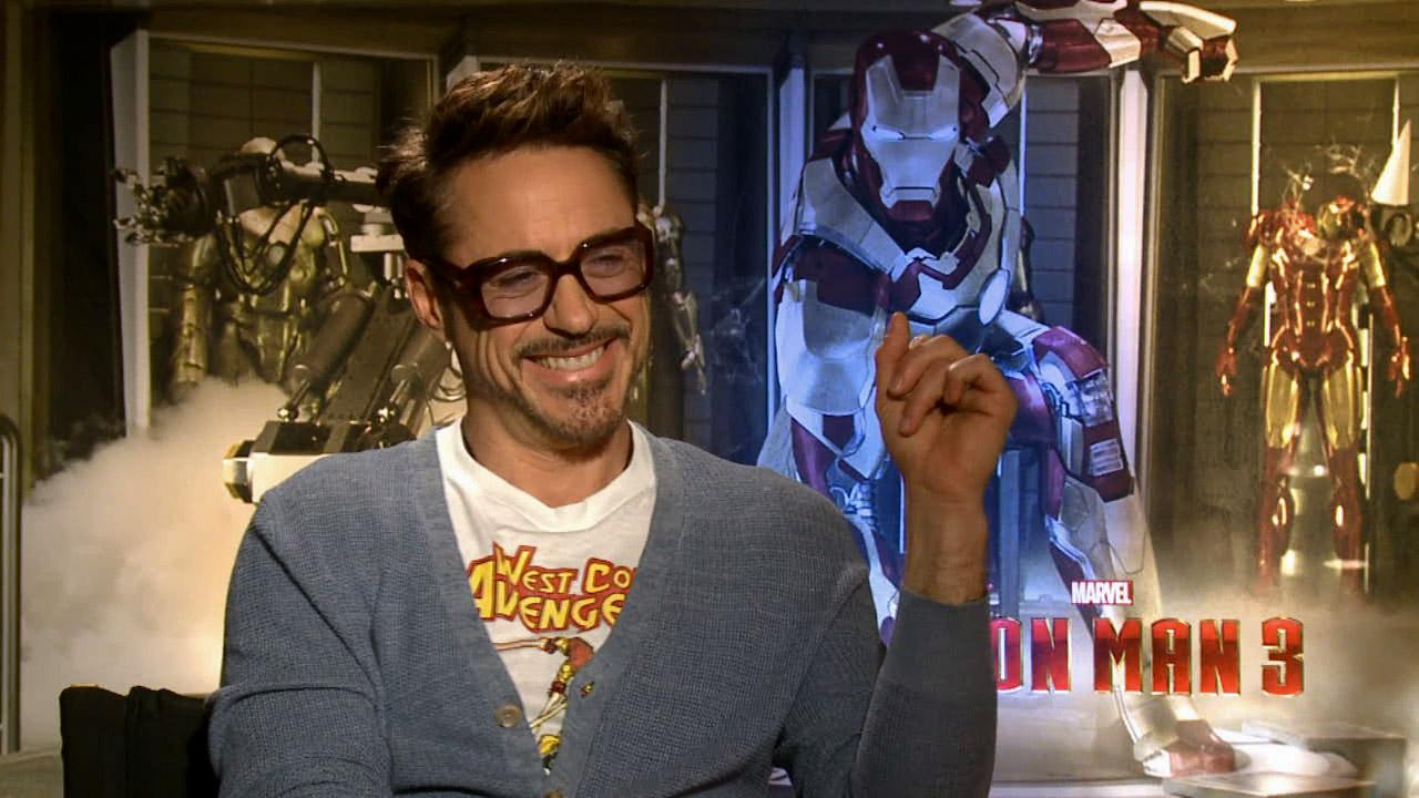 Robert Downey Jr. talks to Eyewitness News about Iron Man 3 in this April 2013 photo.
