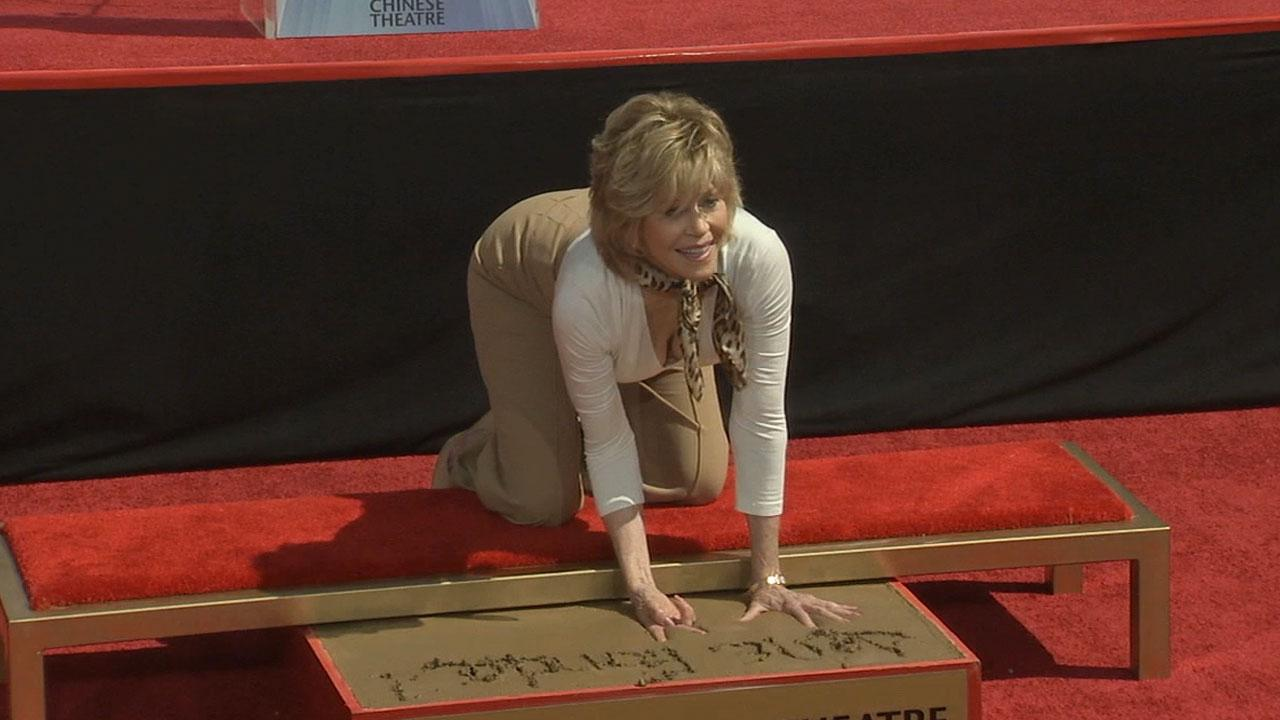 Hollywood icon Jane Fonda put her handprints in cement near her fathers outside the TCL Chinese Theatre Saturday, April 27, 2013.