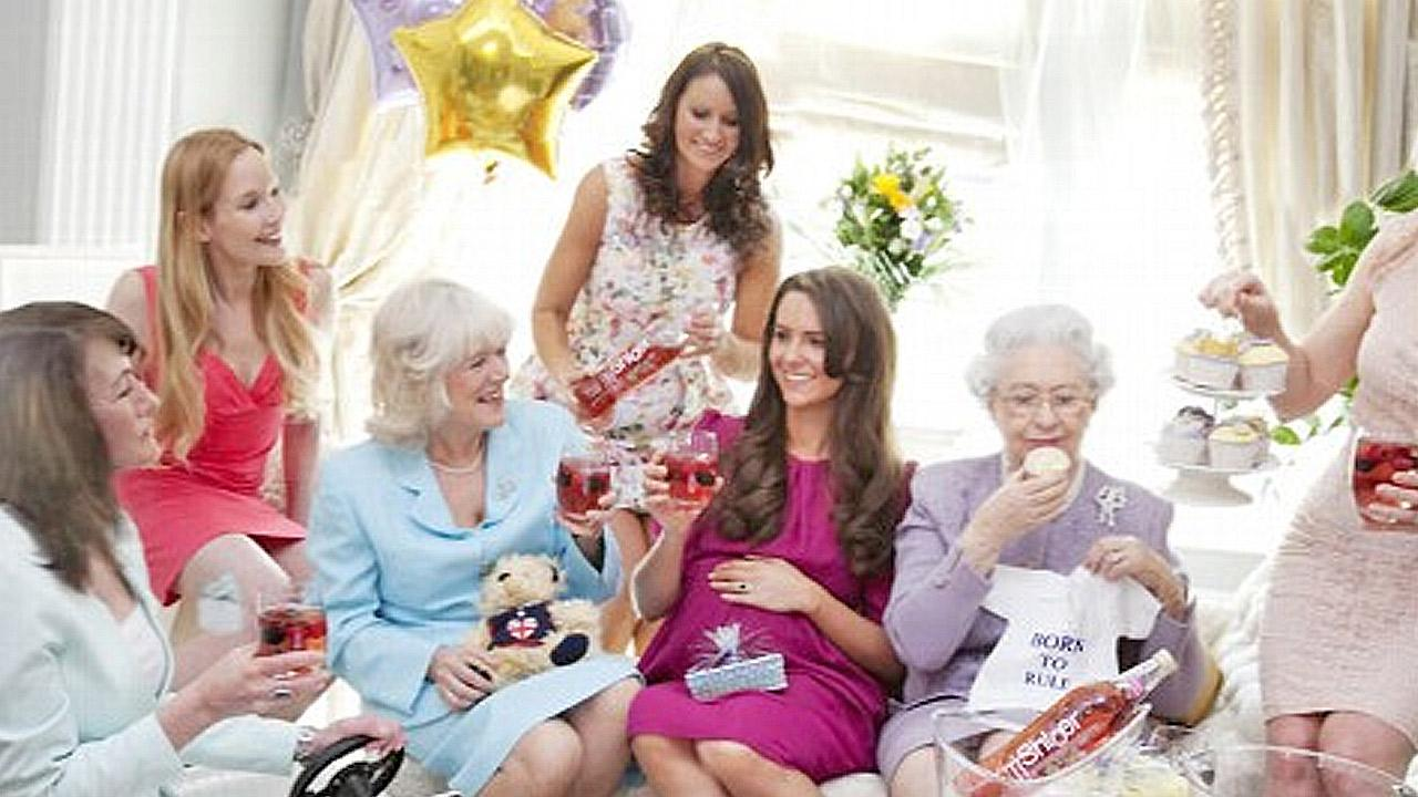 A Kate Middleton impersonator poses with other British royalty lookalikes for a photo of a pretend baby shower.