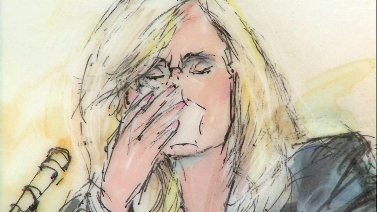 A court sketch shows Michael Jacksons makeup artist Karen Faye breaking down on the stand Thursday, May 9, 2013, in the wrongful death suit against AEG.