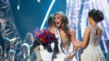 Miss Connecticut USA 2013, Erin Brady of East Hampton, is announced as Miss USA 2013, and congratulated Miss Universe 2012, at the conclusion of the 2013 MISS USA Competition at PH Live in Las Vegas, Nevada on Sunday June 16, 2013.