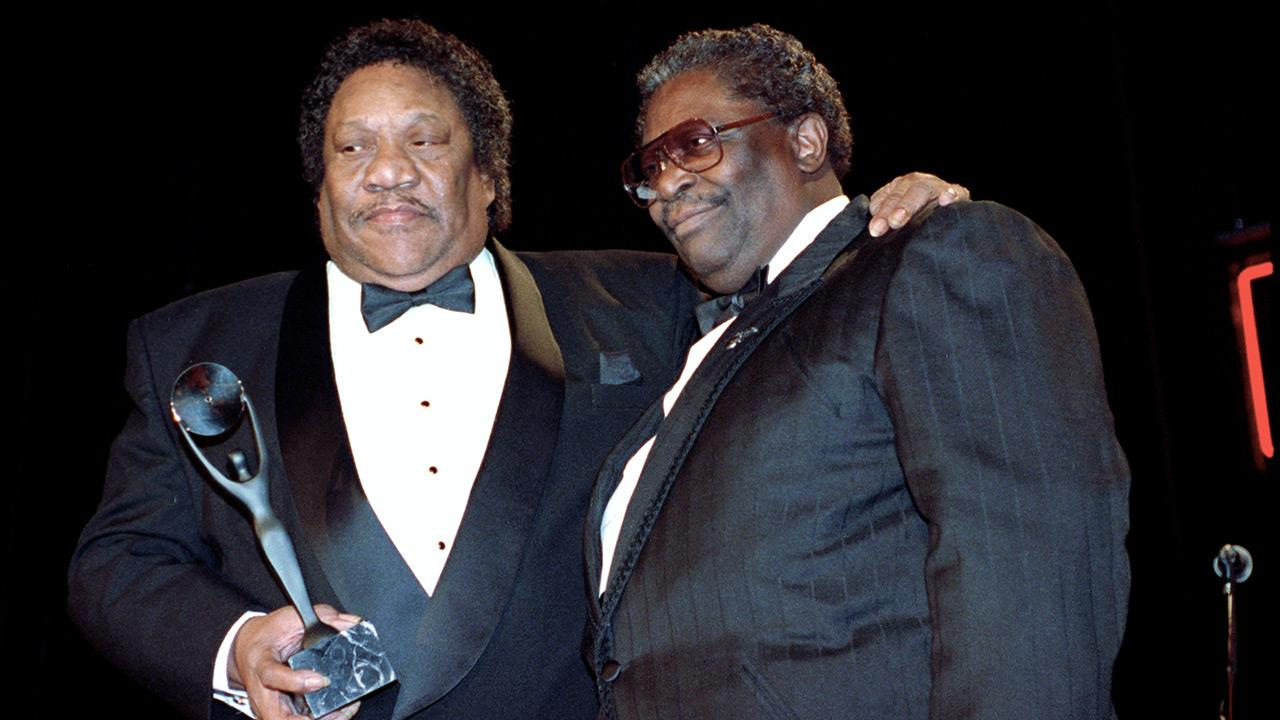 In this Jan. 15, 1992, file photo, Bobby Blue Bland, left, receives his award for the Rock and Roll Hall of Fame from B.B. King during induction ceremonies in New York.Mark Lennihan