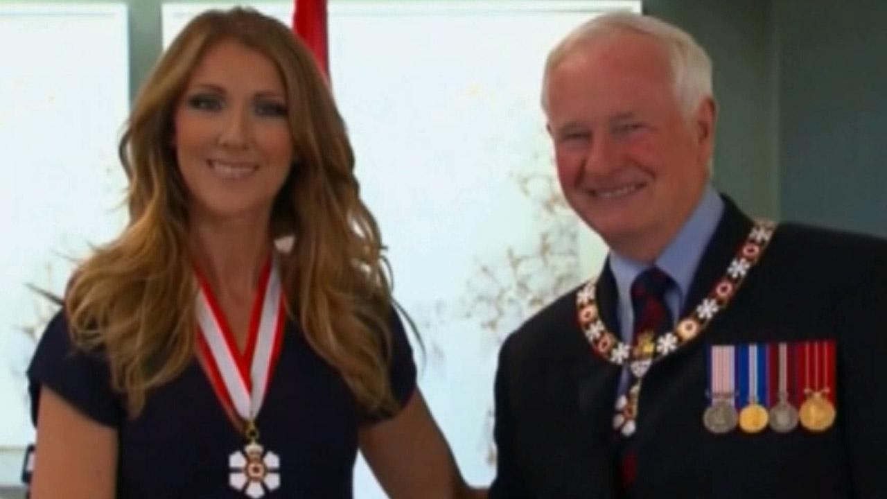 Celine Dion was presented the insignia of companion of the order of Canada by Governor General David Johnston in Quebec City, Canada on Friday July 26, 2013.