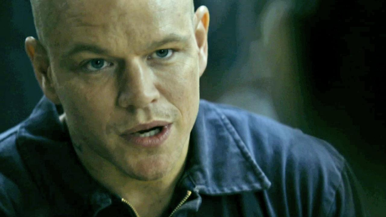 Matt Damon is seen in this still from the 2013 film, Elysium.