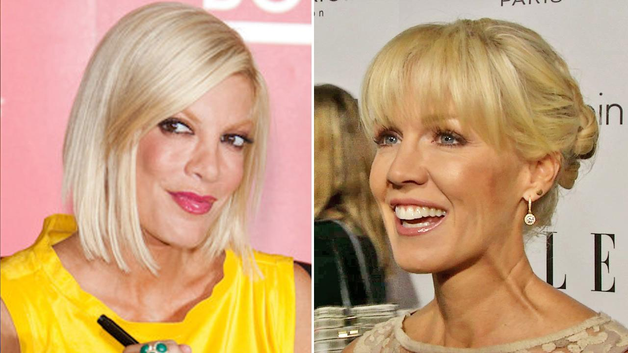 (Left) Tori Spelling attends a signing for her book, Uncharted Territori on June 16, 2010. (Right) Jennie Garth talks to OTRC.com at the Women in Hollywood event in L.A. Oct. 15, 2012.