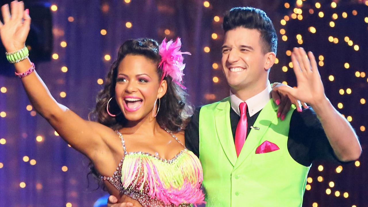 Singer Christina Milian and partner Mark Ballas perform on Dancing With The Stars on Monday, Oct. 14, 2013.