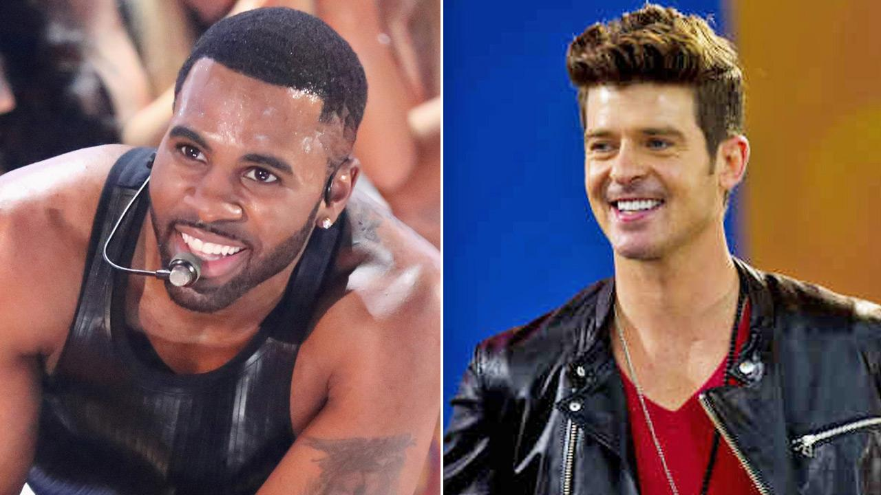 (Left) Jason Derulo performs on Dancing With The Stars on May 7, 2013. (Right) Robin Thicke performs on Good Morning America Friday, May 25, 2012.