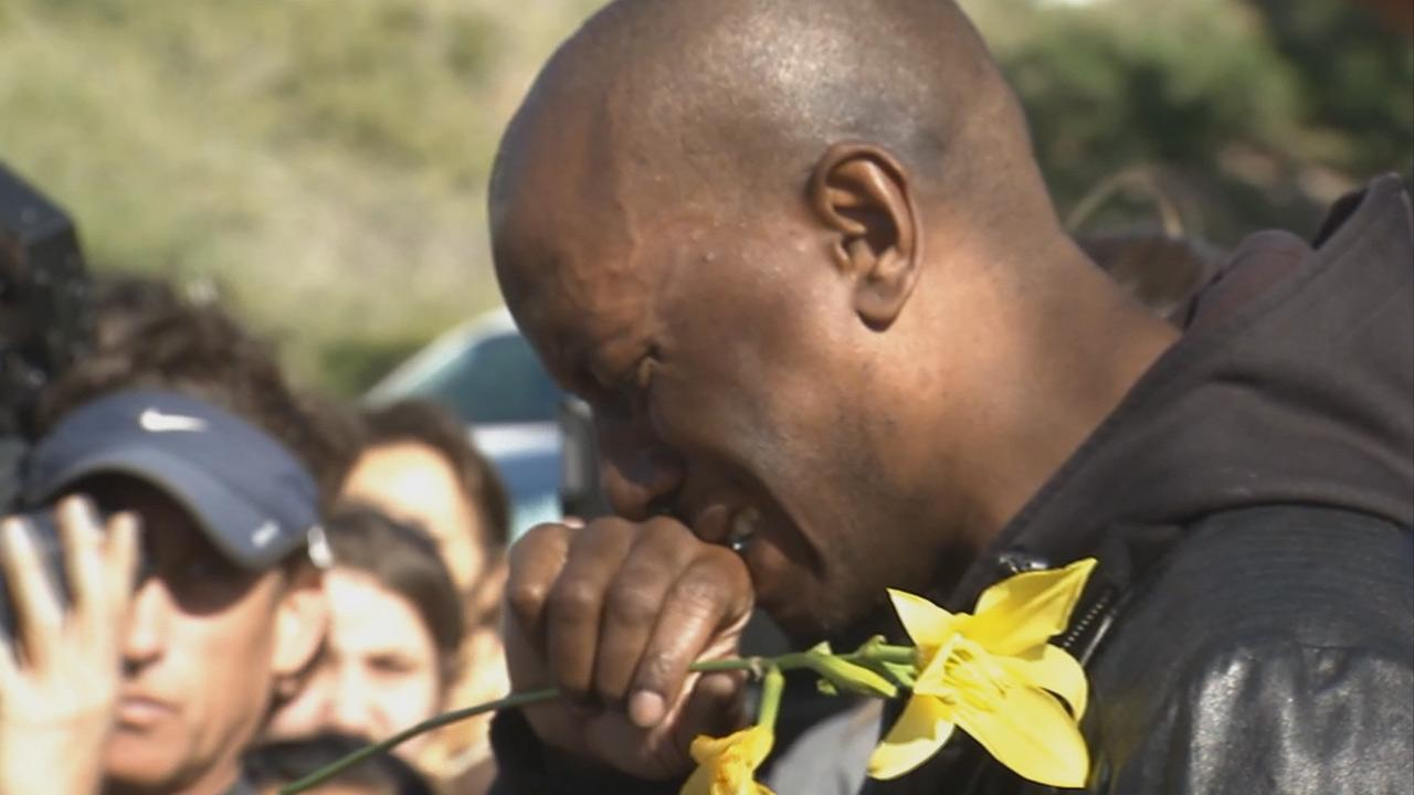 Actor Paul Walkers Fast and Furious franchise co-star Tyrese Gibson attends a vigil held at the scene of the crash site that claimed the life of Walker and his friend, Roger Rodas, Saturday, Nov. 30, 2013.