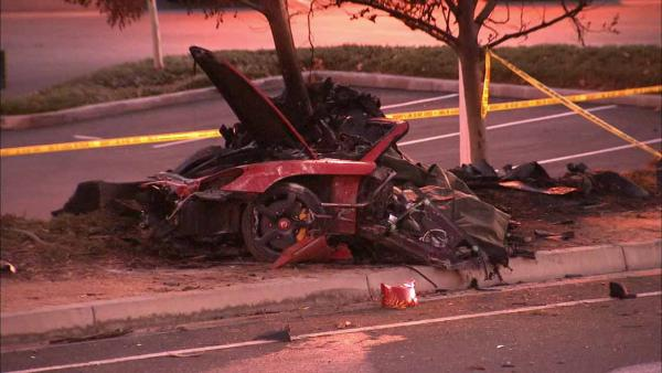 The wreckage of the single-vehicle crash that claimed the life of Actor Paul Walker and his friend, Roger Rodas in Valencia on Sat
