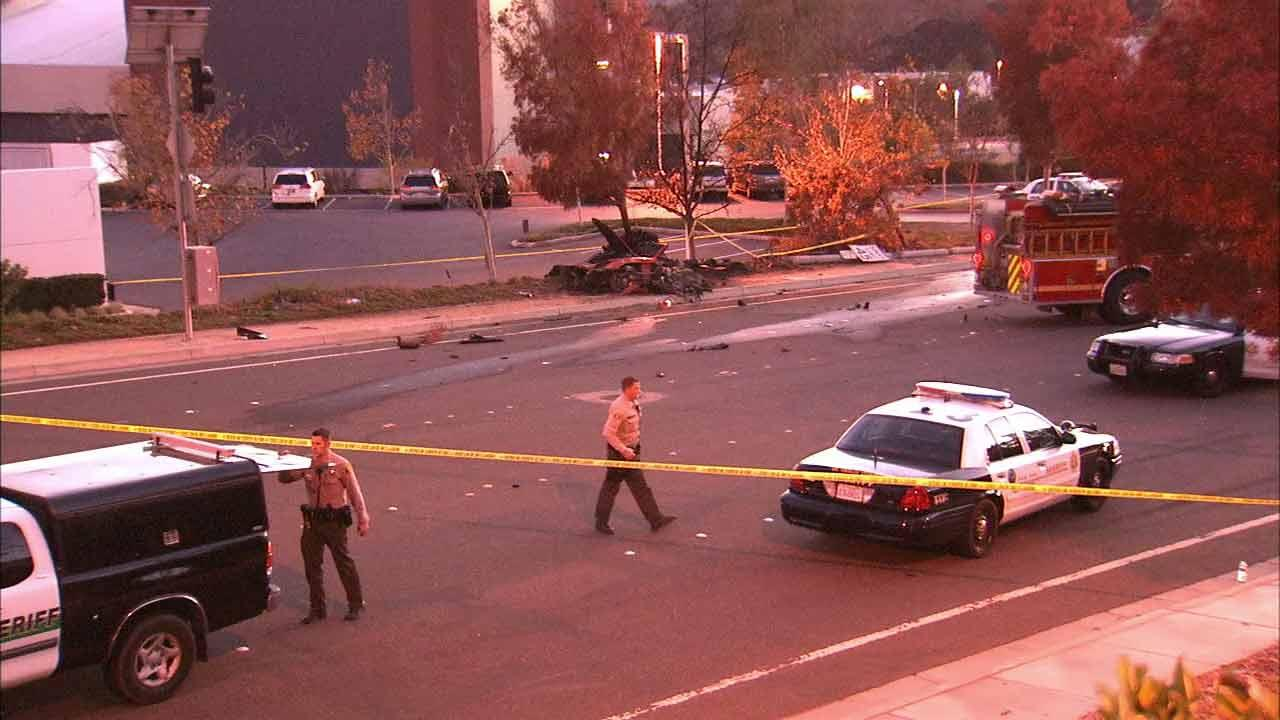 The wreckage of the single-vehicle crash that claimed the life of Actor Paul Walker and his friend, Roger Rodas in Valencia on Saturday, Nov. 30, 2013 is seen.