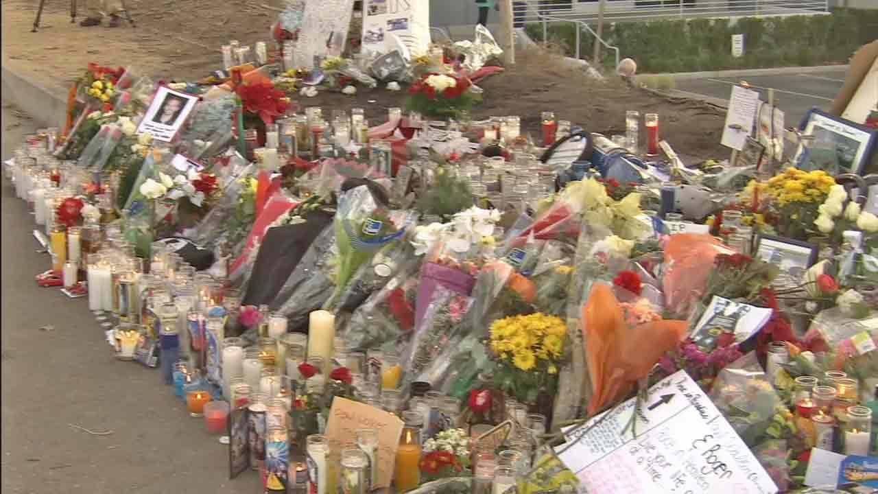 A makeshift memorial has been set up at the crash site that claimed the life of actor Paul Walker and his friend, Roger Rodas, in Valencia Saturday, Nov. 30, 2013.