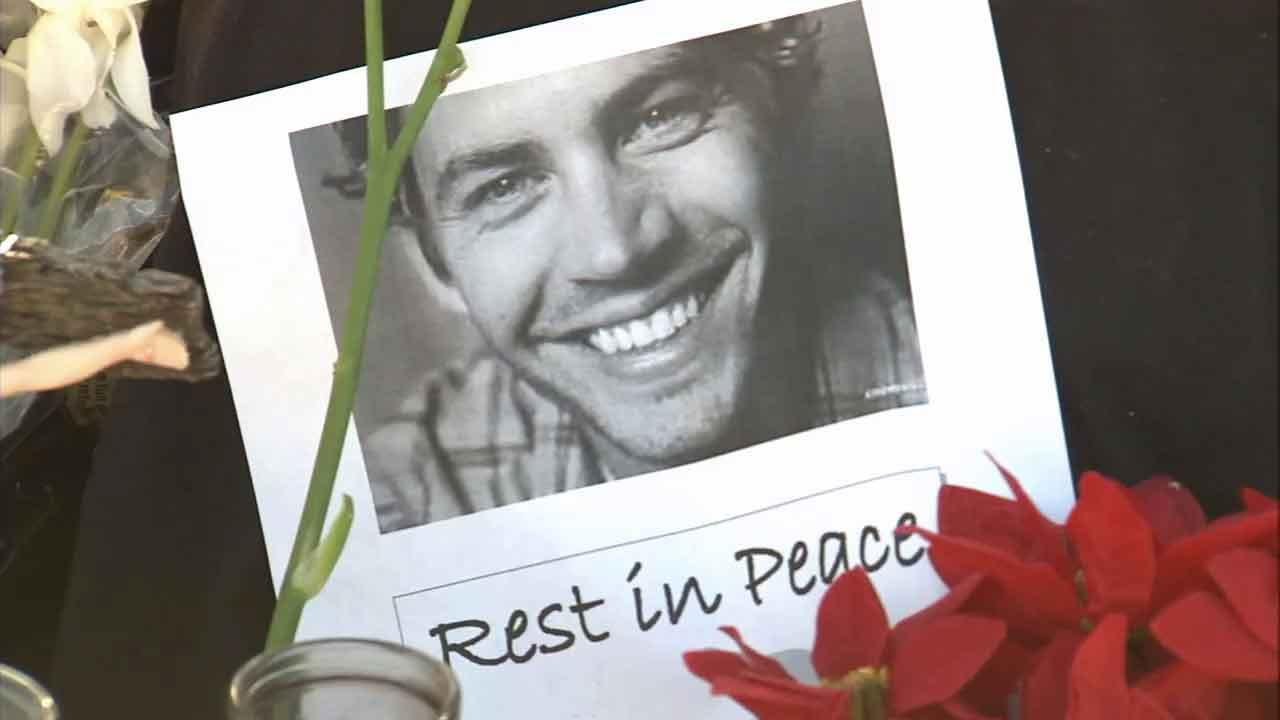 A tribute to Paul Walker is seen in this Dec. 2013 photo. Walker and his friend, Roger Rodas, were killed in a fiery car crash near Rye Canyon Loop and Kelly Johnson Parkway in Valencia Saturday Nov. 30, 2013.